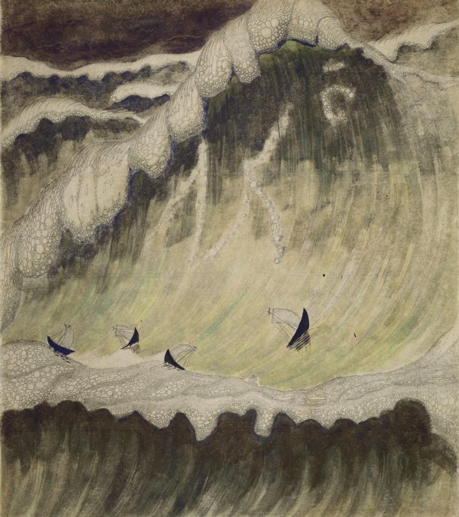 """M. K. Čiurlionis savo paveiksluose bandė pateikti dviejų menų, muzikos ir dailės, sintezę. Paveikslas """"Jūros sonata"""", 1908 m."""
