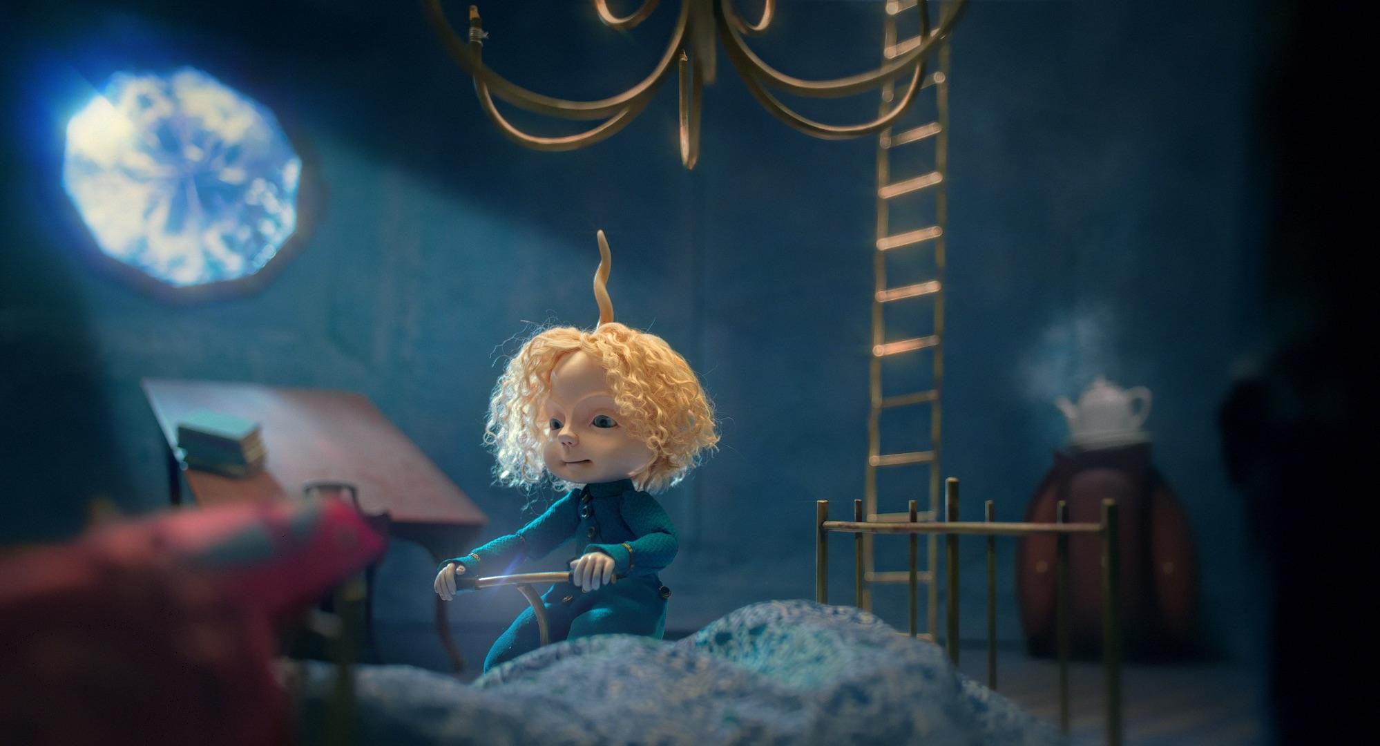 """Kadras iš B. Sodeikaitės animacinio filmo """"Paskutinė stotelė – Mėnulis"""""""