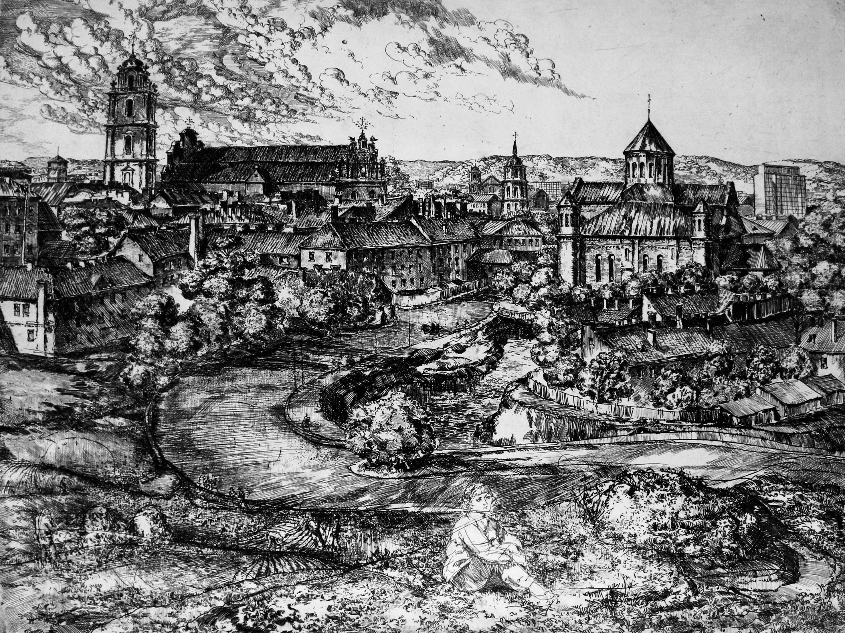 Vilnius panorama II etching. Autorius Leonas Lagauskas.