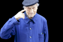 jonas mekas blue in black man